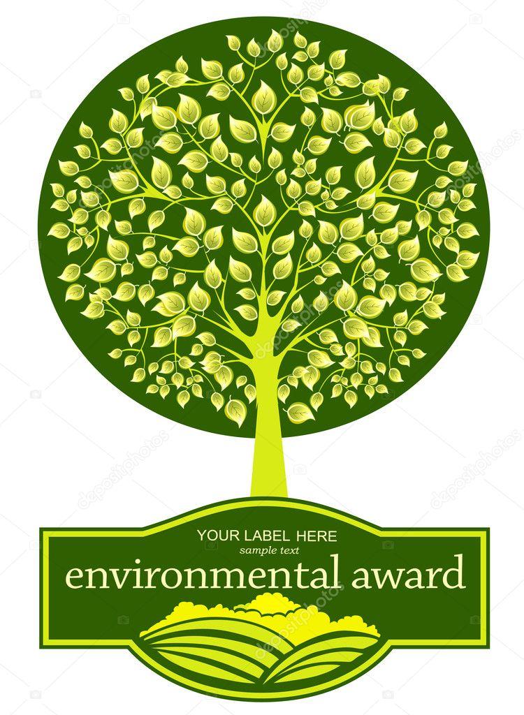 Vector emblem green tree