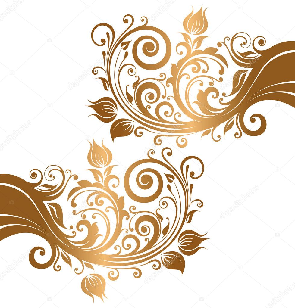 Beautiful Gold Ornament With Flowers And Curls Stock