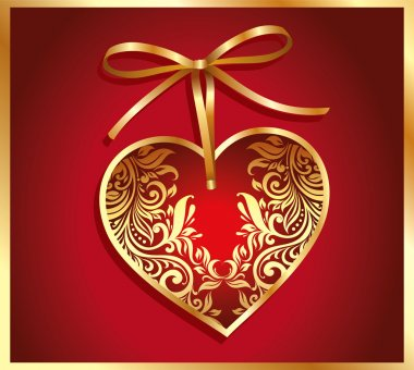 Holiday card with gold heart