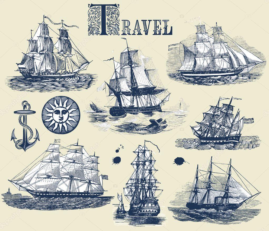 Set of old ships