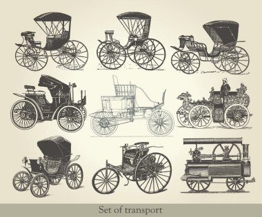 Vector set of old cars