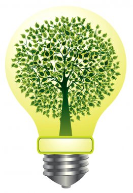 Vector lightbulb with green tree