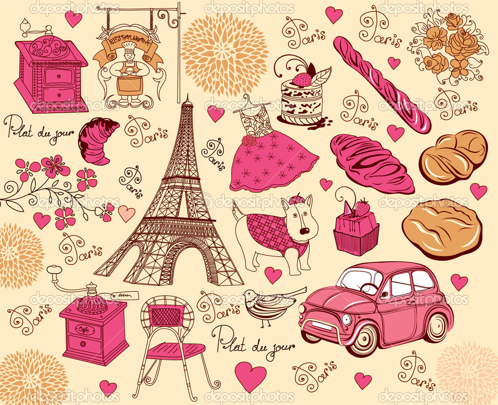 Collection of symbols of Paris. Hand drawing.