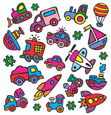 Drawings in a children's style of transport