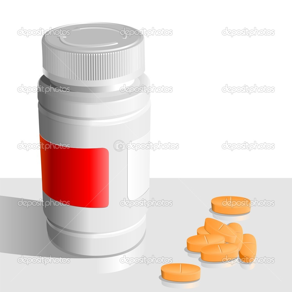 Vector Orange Tablets Around The Banks For Drugs Stock Vector