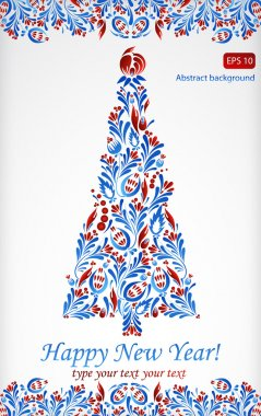 Greeting card with abstract new year tree