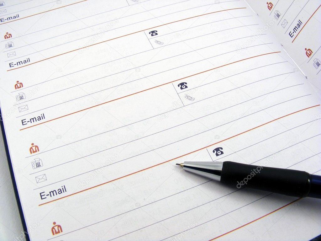 Open address book & pen