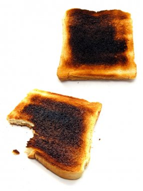 2 images of burnt toast #1