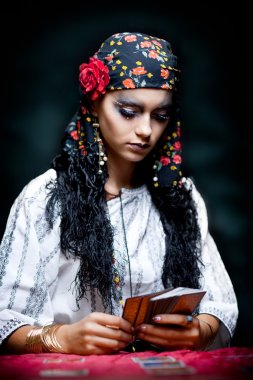 A portrait of a gypsy fortune teller.