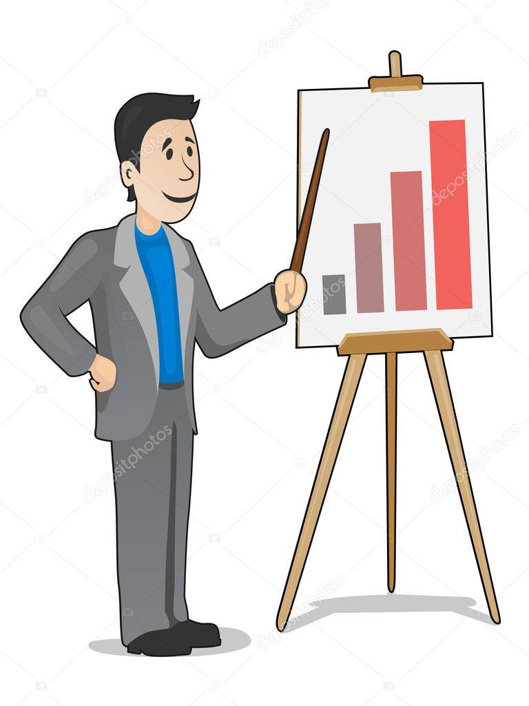 Businessman making a positive report
