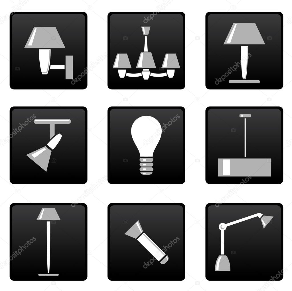 Vector lamp icons set