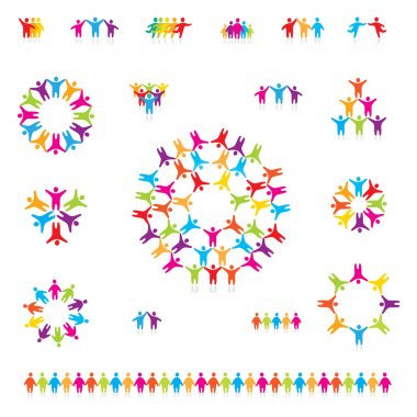 Various colorful set of icons - successful team. For your designs clip art vector