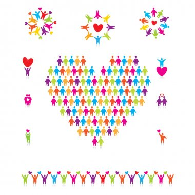 Set of icons - signs of love and friendship clip art vector