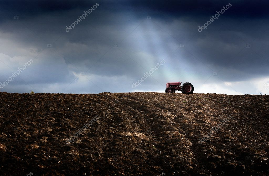 Tractor at the plowed field