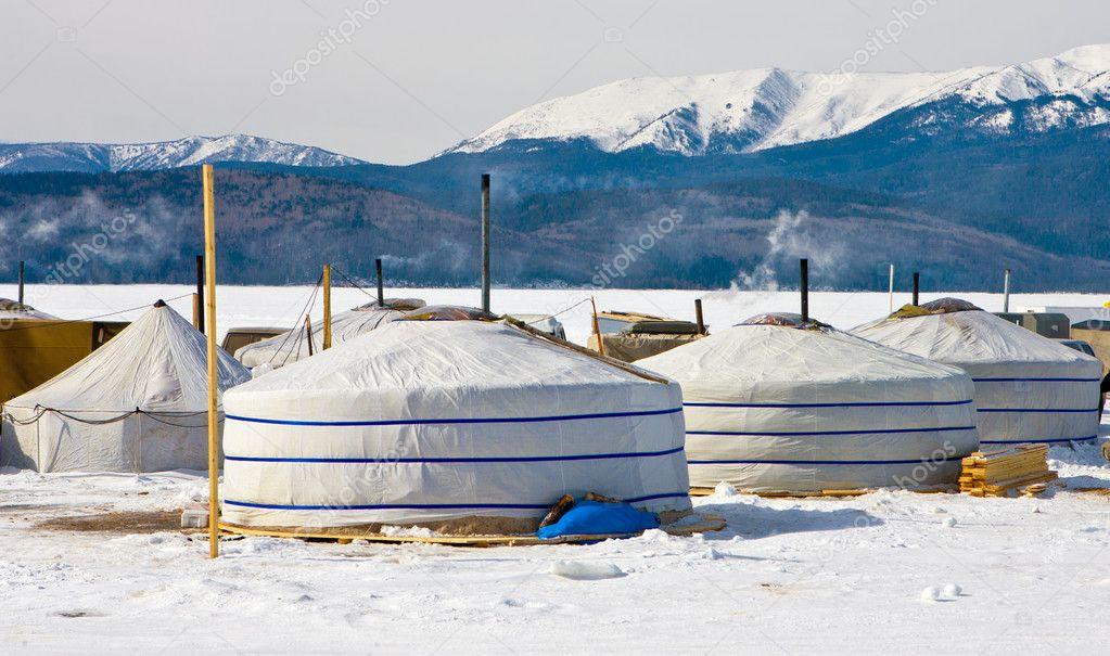 Small town on an ice of lake Baikal