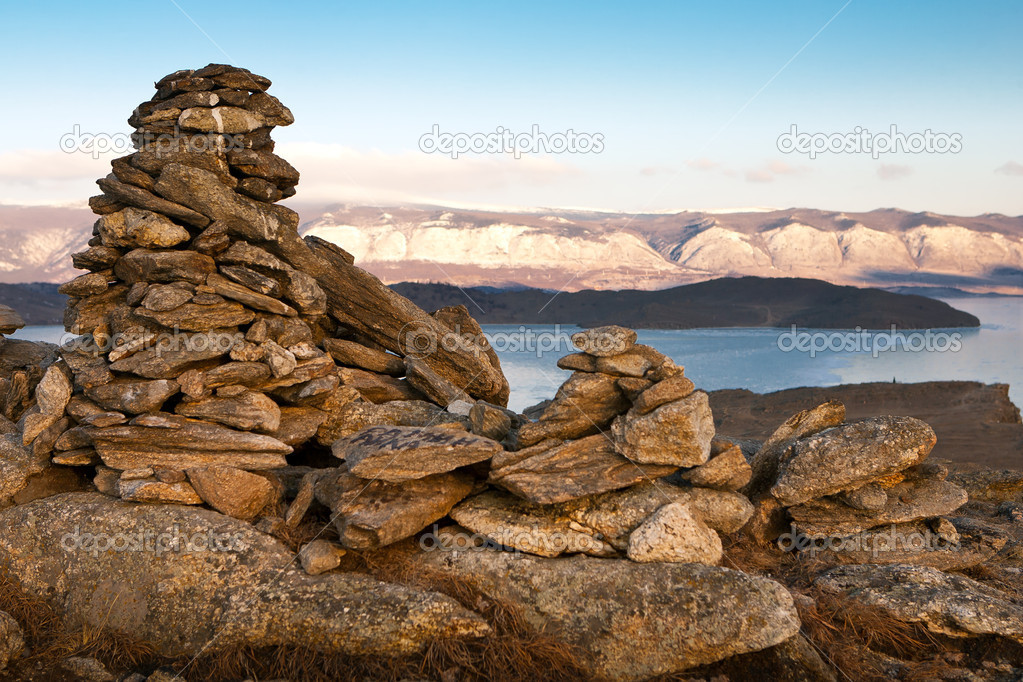 Tower from stones on mountain