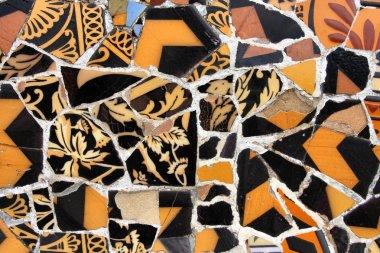 Artistic mosaic in Antoni Gaudi's Park Guell