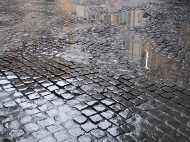 Wet cobbled street in Rome