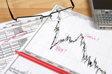 Stock market candle charts, remarks with a red marker, glasses and mobile smart phone