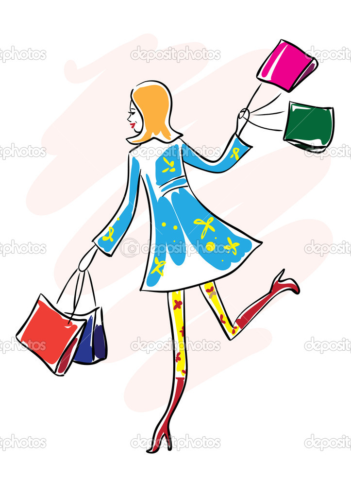 Happy young woman run with shopping bag