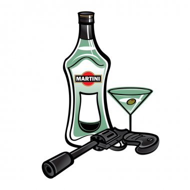 Bottle of martini and revolver gun