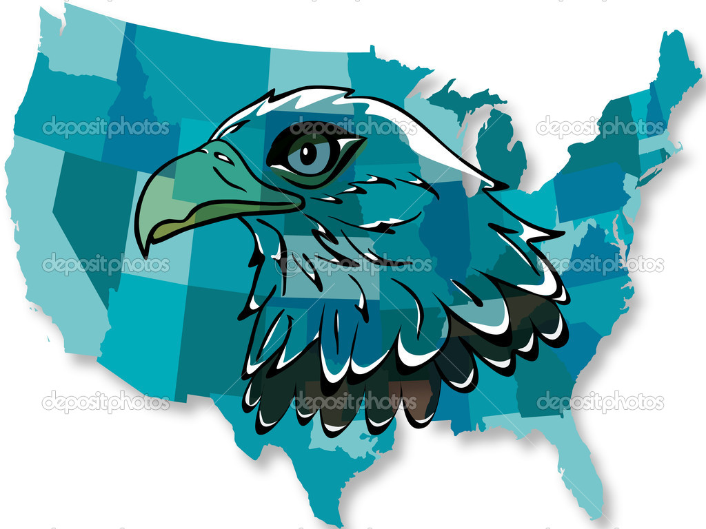 Eagle Over USA Map Stock Vector Pierdelune - Us map ai
