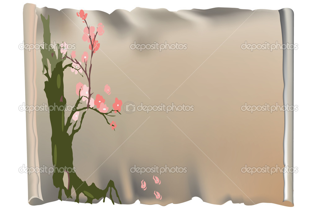 Parchment and tree with pink flowers