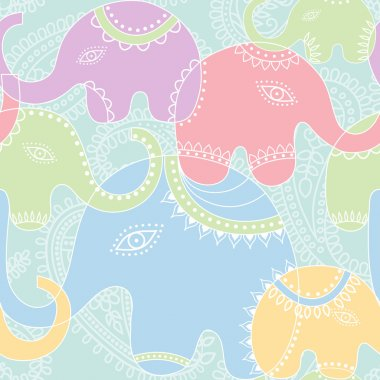 Elephant seamless pattern.
