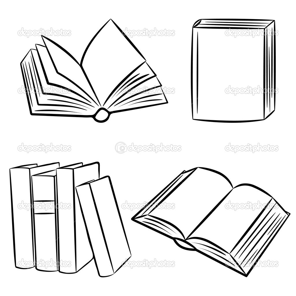Line Art Book : Books vector illustration — stock bellenixe