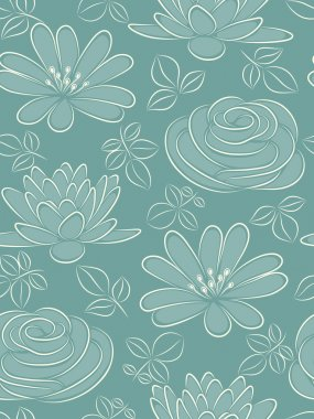 Flower seamless pattern. Vector illustration.