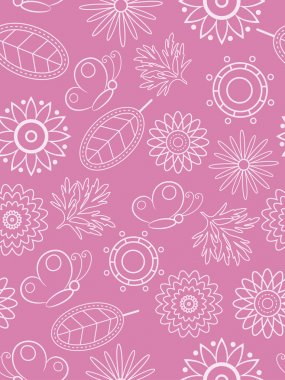 Pink floral seamless. Vector illustration.