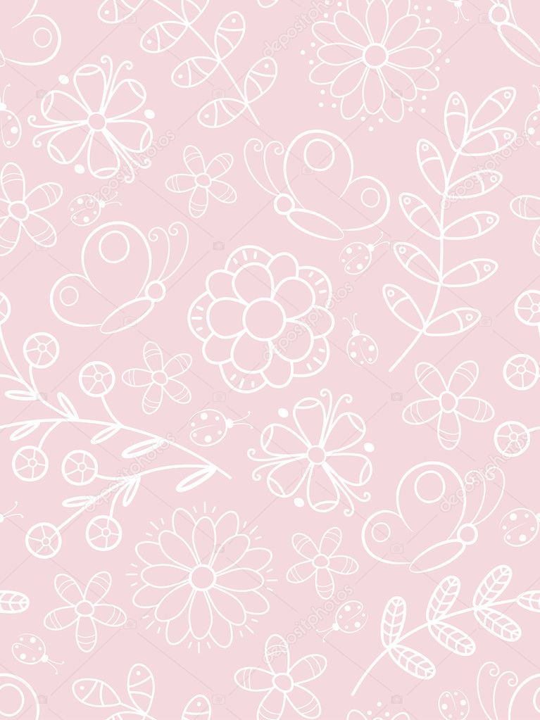 Pink floral seamless pattern. Vector illustration.