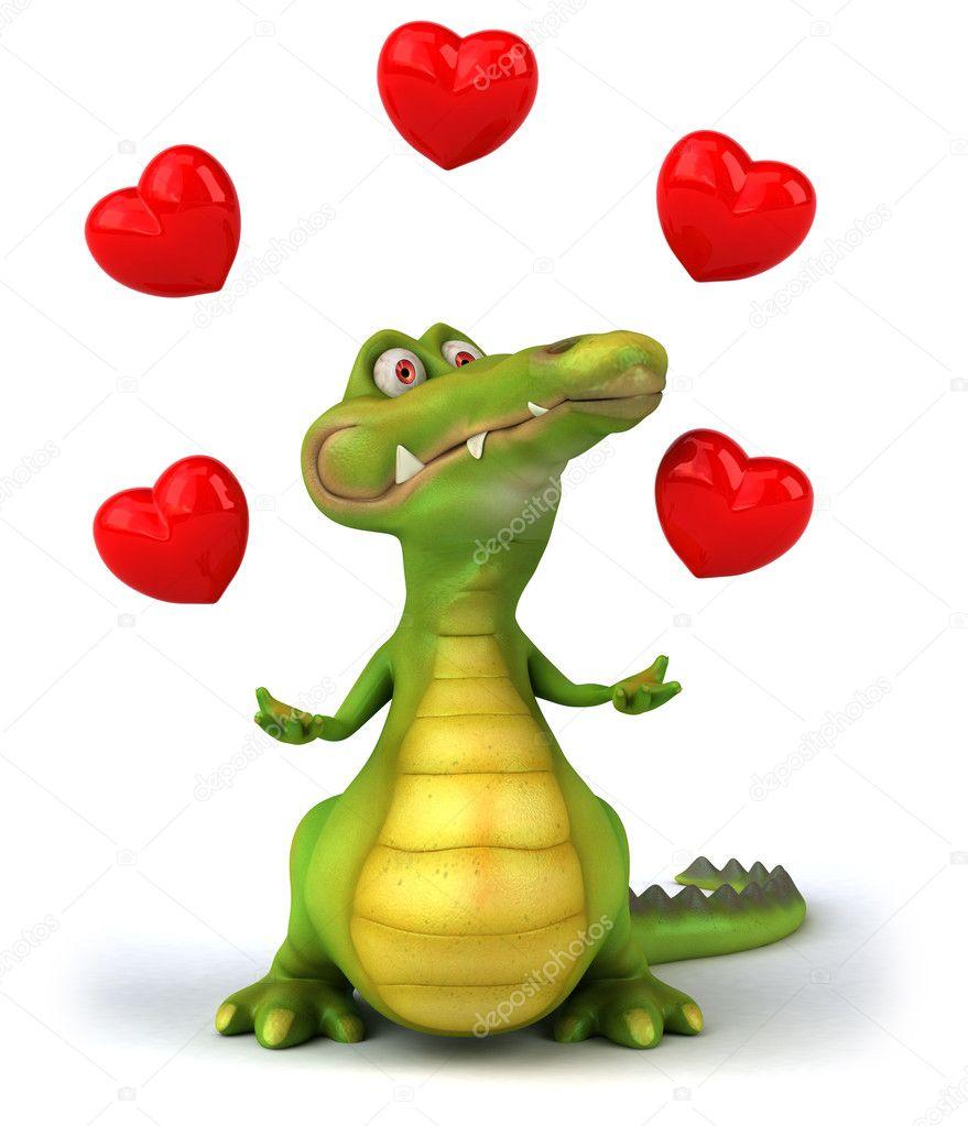 Анимация крокодил и сердечки