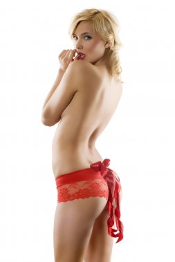 Sexy girl with red bow