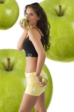 Yellow skirt and apple