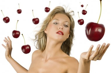 Blond girl with cherry