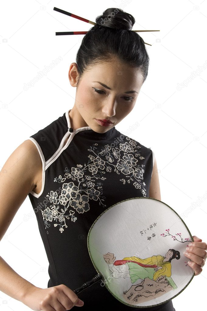 Chica Japonesa En El Clásico Vestido Foto De Stock