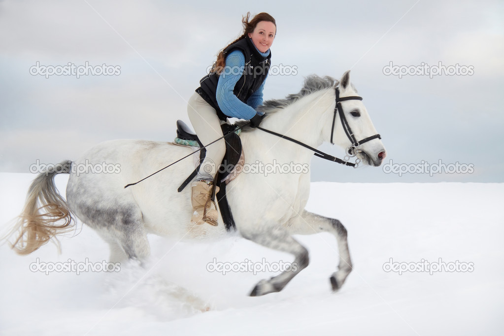 Winter horse riding_