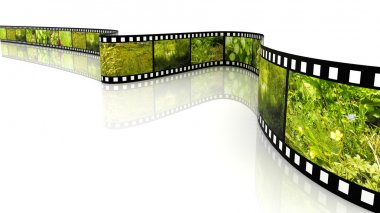 3d blank film on white backgroung filled by pictures of nature stock vector