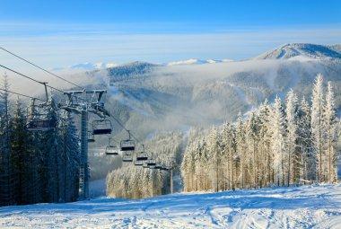 Winter ski lift