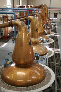 Interior of a single malt whisky distillery in Highlands of Scotland stock vector
