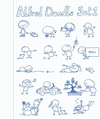 16 cool and funny doodles featuring Alfred Doodle in different situations