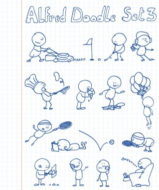 14 new, cool and funny doodles featuring Alfred Doodle in different situati