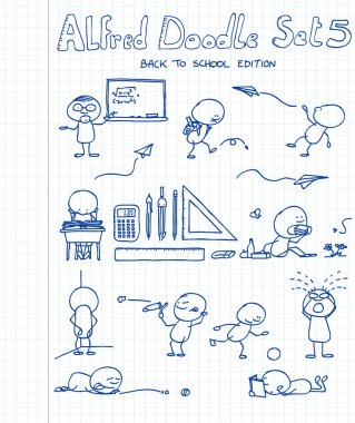 11 new, cool and funny doodles featuring Alfred Doodle in back to school si