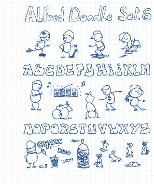 10 new, cool, hip-hoppedy and funny doodles featuring Alfred Doodle and a c