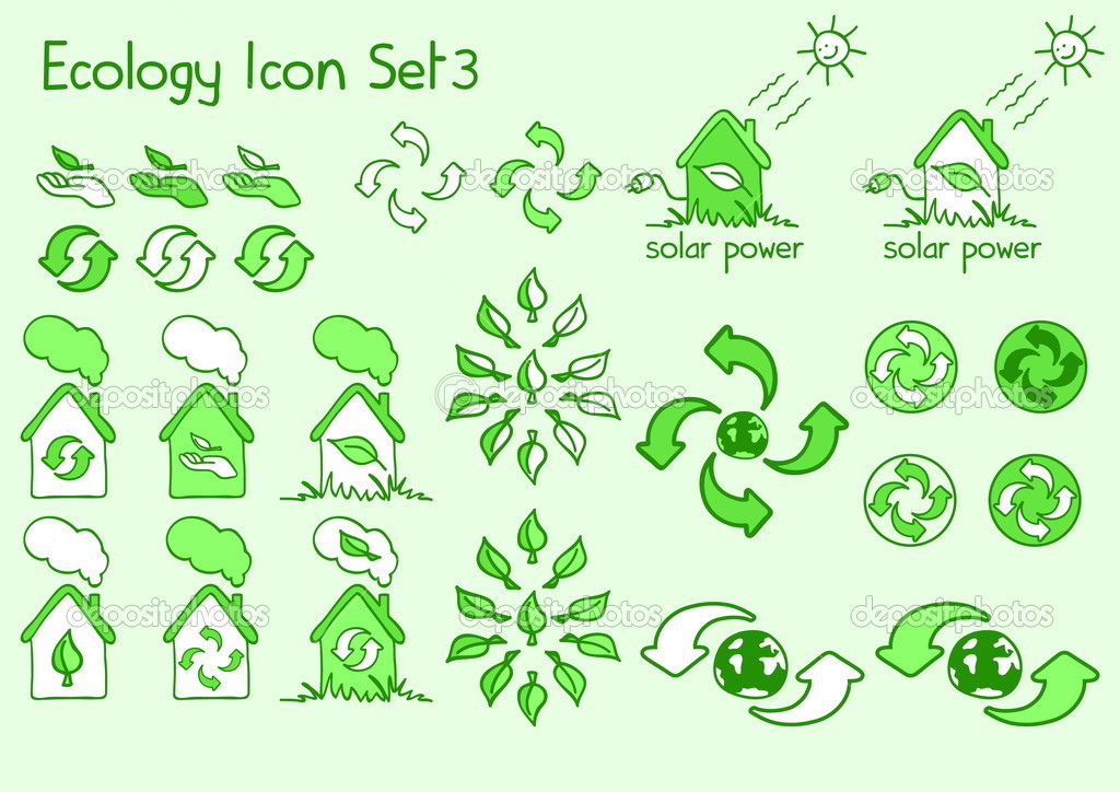 A great set of ecology icons in doodle style