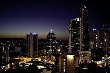 Skyscrapers on Gold Coast during the night