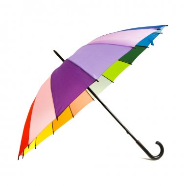 Multicolored rainbow umbrella - isolated on white background