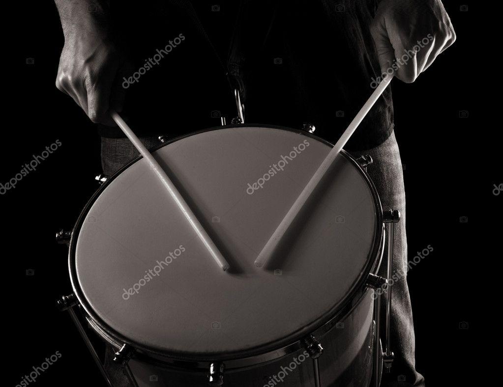Playing repinique (rep, repique, two-headed Brazilian drum) , toned monochr