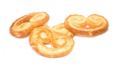 Palmera (Palmier); sweet puff pastry; isolated on white